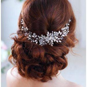 Silver bridal hair piece